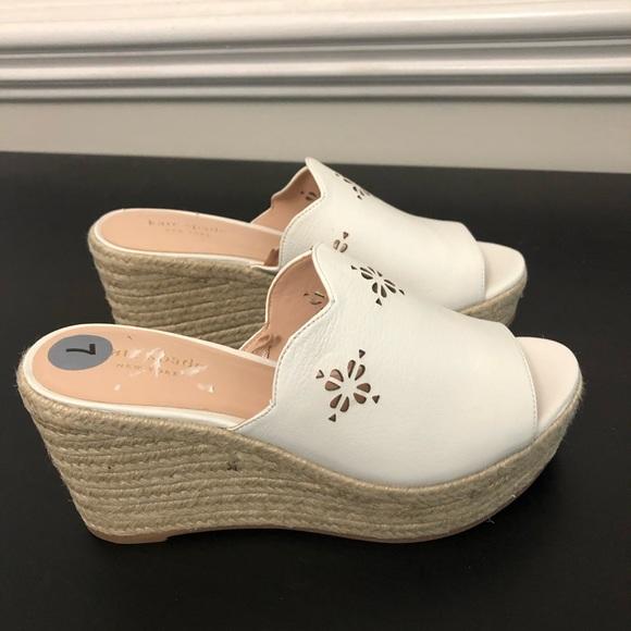 kate spade Shoes - Kate Spade Tia laser cut wedge slip on sandals